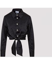 Ganni Crinkled Satin Wrap Shirt 34 - Black