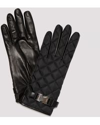 Prada Quilted Nylon And Nappa Gloves - Black