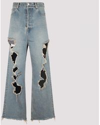 Balenciaga Destroyed Baggy Trousers - Blue