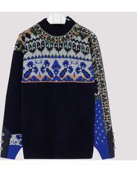 Sacai Multicolour Intarsia Knit Jumper - Blue
