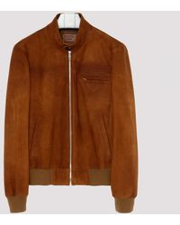 Prada Tan Suede Leather Bomber Jacket - Brown