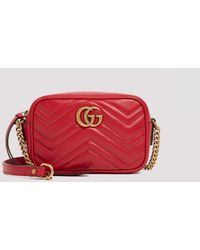 Gucci Red Gg Marmont Small Matelassé Shoulder Bag