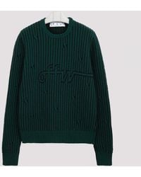 Off-White c/o Virgil Abloh Black And Green Cable-knit Sweater