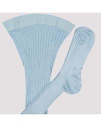 Prada Light Blue Ribbed Stretch-silk Tights 2
