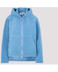 Loewe Hooded Zip Jacket In Shearling - Blue