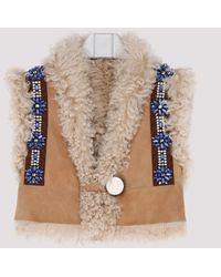 Miu Miu Faux Fur Trimmed Suede Vest - Multicolour