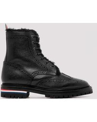 Thom Browne Black Leather Combat Boots