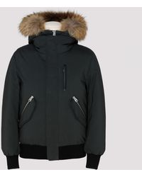 Mackage Dixon Down Bomber With Removable Hooded Bib & Fur Trim In Green - Men