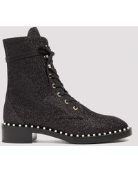 Stuart Weitzman Sondra Black Glittered Ankle Boots