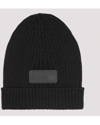 Prada Knit Beanie With Logo Patch - Black