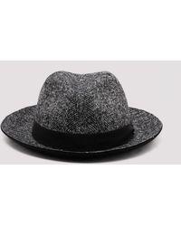 Giorgio Armani Herringbone Wool Fedora Hat - Multicolour
