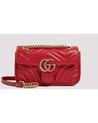 Gucci Red Gg Marmont Matelassé Mini Bag