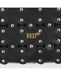 RED V Flower Puzzle Shoulder Bag - Black