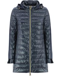 Herno Quilted Hooded Coat - Blue