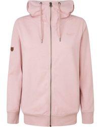 Pepe Jeans Kapuzensweatshirt ANNE, in unifarbener Optik mit Kapuze und Reißberschluss und Marken-Logo-Print im Brustbereich - Pink