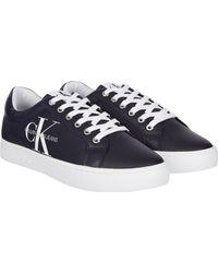 Calvin Klein Sneaker, Nylon Einsatz mit CK Logo - Blau