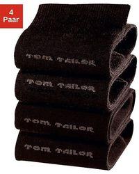 Tom Tailor Socken, (4 Paar), mit druckfreiem Bündchen - Schwarz