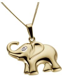 Firetti Kettenanhänger Elefant, teilweise rhodiniert und glanzvoll - Mettallic