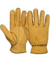 KingKerosin Lederhandschuhe, im Vintage-Look - Gelb