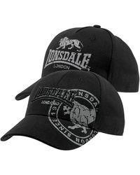 Lonsdale London Baseball Cap, (Packung, 2 St.) - Schwarz
