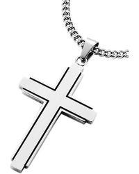 Firetti Kette mit Anhänger Kreuz teilweise geschwärzt - Mehrfarbig