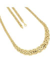 Firetti Goldkette Edle Königskettengliederung, 7,5 mm - 17 mm breit im Verlauf, glänzend, halbmassiv - Mettallic