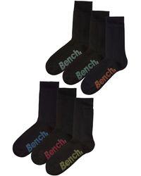 Bench Socken, (Box, 6 Paar), mit verschiedenfarbigen Logos - Schwarz