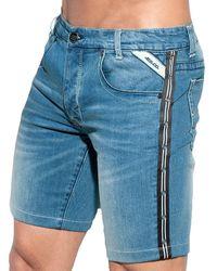ES COLLECTION Bermuda en Jeans Dystopia Tape Indigo - Bleu