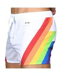 Andrew Christian Rocket Pride Rainbow Swim Short - White