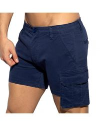 ES COLLECTION Pocket Cargo Shorts - Blue