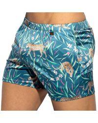 ES COLLECTION Wild Satin Lounge Shorts - Blue