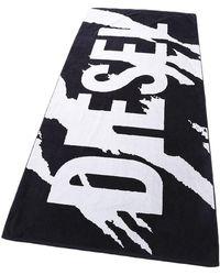 DIESEL Drap de Bain Logo - Noir