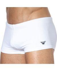Emporio Armani Embroidery Logo Swim Trunks - White