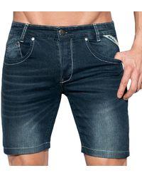 ES COLLECTION Bermuda en Jeans Marine - Bleu