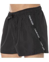 Calvin Klein Short De Bain Logo Tape - Noir
