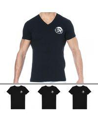DIESEL Lot de 3 T-Shirts Col V Basic - Noir