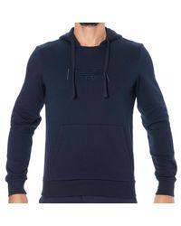Emporio Armani Sweat-Shirt Capuche Iconic Terry - Bleu