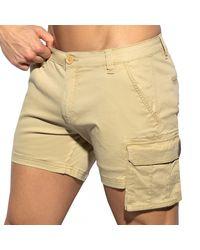 ES COLLECTION Pocket Cargo Shorts - Natural