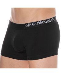 Emporio Armani Boxer Court B-Side Logo Coton - Noir