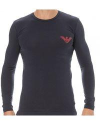 Emporio Armani T-Shirt Shiny Bold Eagle - Bleu