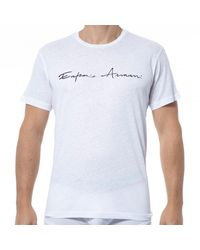 Emporio Armani T-Shirt Col Rond Lin - Blanc