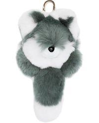 Yves Salomon Four Rex Rabbit Fox Keychain - Green