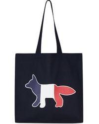 Maison Kitsuné Tricolor Fox Tote Bag - Blue