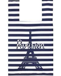 Maison Kitsuné Parisien Tower Stripes Nylon Bag - Blue