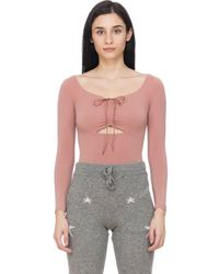 T By Alexander Wang Long Sleeve Ruched Body Suit - Multicolor
