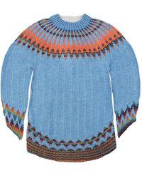MM6 by Maison Martin Margiela Fair Isle Sweater Dress - Blue