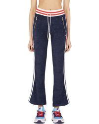 Champion Terry Cloth Allover Jacquard 'c' Logo Warm Up Slim Flare Pants - Blue