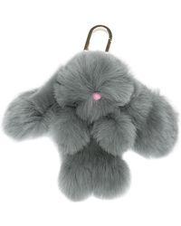 Yves Salomon Four Rex Rabbit Bunny Keychain - Gray