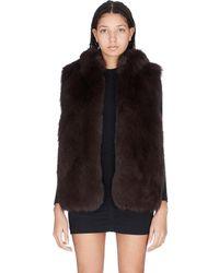 Yves Salomon Rex Rabbit Fur Hooded Vest - Black