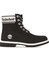 Timberland 6 Inch Logo Collar Womens Black Boots